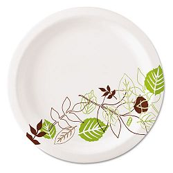 "Ultralux Pathways Paper Plates 8.5"" GreenBurgundy Carton of 1000 (DXEUX9PATH)"