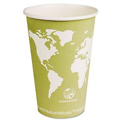 World Art Renewable Resource Compostable Hot Cups 16 oz. Seafoam Green1000Ctn (ECOEPBHC16WA)