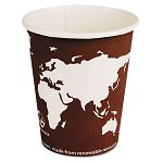 World Art Renewable Resource Compostable Hot Drink Cups 8 oz. Plum Carton of 1000 (ECOEPBHC8WA)