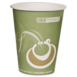 Evolution World 24% PCF Hot Drink Cups Sea Green 12 oz. Pack of 50 (ECOEPBRHC12EWPK)