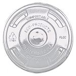 Compostable Cold Drink Cup Lids Flat Clear Carton of 1000 (ECOEPFLCC)