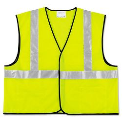 Class 2 Safety Vest Fluorescent Lime with Silver Stripe Polyester XL (CRWVCL2SLXL)