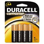 Coppertop Alkaline Batteries AA Pack of 4 (DURMN1500B4Z)