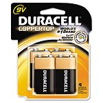 Coppertop Alkaline Batteries 9V Pack of 4 (DURMN16RT4Z)