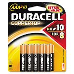 Coppertop Alkaline Batteries AAA Pack of 10 (DURMN2400B10Z)