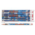 Decorated Wood Pencil Super Reader HB #2 Blue Barrel Dozen (MPD2112B)