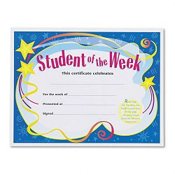 "Student of the Week Certificates 8-12"" x 11"" White Border Pack of 30 (TEPT2960)"