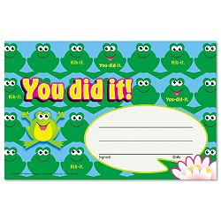 "Recognition Awards You Did It--Frogs 8 12""w by 5 12""h Pack of 30 (TEPT81034)"