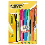 Brite Liner Retractable Highlighter Chisel Tip Five-Color Set (BICBLRP51ASST)