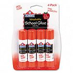 Washable School Glue Sticks .24 oz Permanent Stick Pack of 4 (EPIE542)