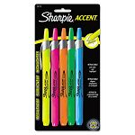 Retractable Highlighters Chisel Tip Assorted Fluorescent Colors Set of 5 (SAN28175PP)