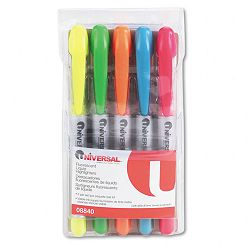 Liquid Pen Style Highlighter Chisel Tip Set of 5 (UNV08840)