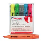 Desk Highlighter Chisel Tip Fluorescent Colors Set of 5 (UNV08860)