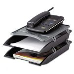 Telephone Stand with Stackable Letter Size Paper Trays BlackGray (IVR10150)