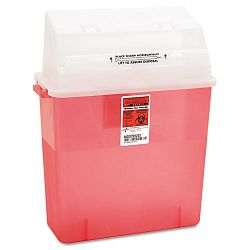 Sharps Container for Patient Room Plastic 3 Gallon Rectangular Red (MIIMDS705203H)