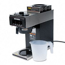 12-Cup Two-Station Commercial Pour-O-Matic Coffee Brewer Stainless Steel Black (BUNVP172BLK)
