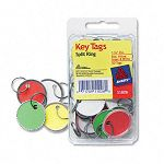 "Metal Rim Key Tags Card StockMetal 1-14"" Diameter Assorted Colors Pack of 50 (AVE11026)"