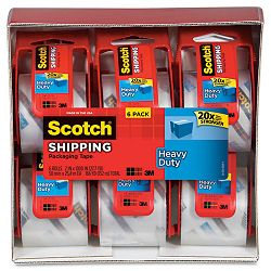 "Sure Start Packaging Tape 2"" x 22.2 yards 2"" Core Clear Pack of 6 (MMM1456)"