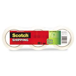 "Sure Start Packaging Tape 1.88"" x 54.6 yards 3"" Core Clear Pack of 3 (MMM34503)"
