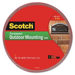 Exterior Weather-Resistant Double-Sided Tape 1 x 450 Gray with Red Liner (MMM4011LONG)