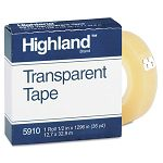 "Transparent Tape 12"" x 1296"" 1"" Core Clear (MMM5910121296)"