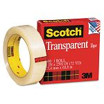 "Transparent Glossy Tape 1"" x 72 yards 3"" Core Clear (MMM60012592)"