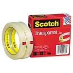 "Transparent Tape 600-2P12-72 12"" x 2592"" 3"" Core Transparent 2 Rolls (MMM6002P1272)"