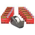 "C60 Desktop Dispenser12 Rolls Transparent Glossy Tape 1"" core Black (MMM600KC60)"