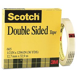 "665 Double-Sided Office Tape 12"" x 36 yards 3"" Core Clear (MMM665121296)"