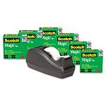 "C40 Desk Tape Dispenser and 6 Rolls Scotch Magic Tape 1"" Core Black (MMM810C40BK)"