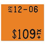 "Pricemarker 1115 Two-Line Removable Label58x34"" Fluorescent Red 3 RollsPack (MNK925032)"