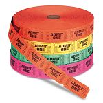 Admit One Single Ticket Roll Numbered Assorted 2000 TicketsRoll (PMC59002)