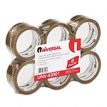"Box Sealing Tape 2"" x 55 yards 3"" Core Tan 6 per Box (UNV63001)"