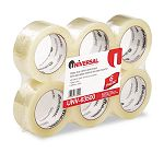 "Box Sealing Tape 2"" x 110 yards 3"" Core Clear 6 per Box (UNV63500)"