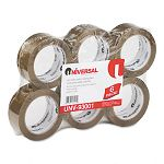 "Heavy-Duty Box Sealing Tape 2"" x 55 yards 3"" Core Tan 6 per Box (UNV93001)"