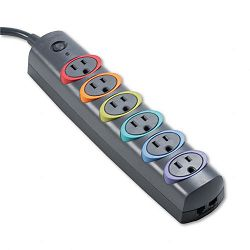 SmartSockets Color-Coded Strip Surge Protector 6 Outlets 6ft Crd (KMW62146)