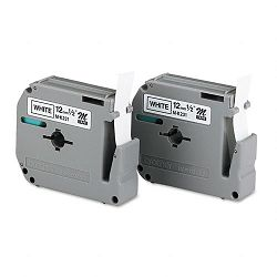 "M Series Tape Cartridges for P-Touch Labelers 12""w Black on White 2Pack (BRTM2312PK)"