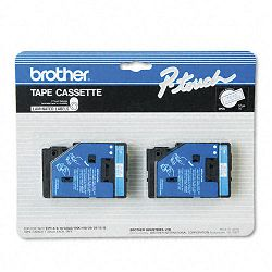 "TC Tape Cartridges for P-Touch Labelers 12""w Blue on White Pack of 2 (BRTTC22)"