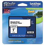 "TZe Standard Adhesive Laminated Labeling Tape 1""w Black on White (BRTTZE251)"