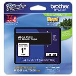 "TZe Standard Adhesive Laminated Labeling Tape 1""w White on Black (BRTTZE355)"
