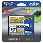 "TZe Extra-Strength Adhesive Laminated Labeling Tape 12""w Black on White (BRTTZES231)"
