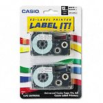 Tape Cassettes for KL Label Makers 12mm x 26ft Black on White Pack of 2 (CSOXR12WE2S)