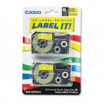 Tape Cassettes for KL Label Makers 18mm x 26ft Black on Yellow Pack of 2 (CSOXR18YW2S)