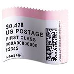 "LabelWriter Postage Stamp Labels 1-58"" x 1-14"" White Roll of 200 (DYM30915)"