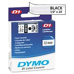 D1 Standard Tape Cartridge for Dymo Label Makers 12in x 23ft Black on Clear (DYM45010)