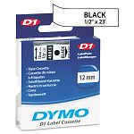 D1 Standard Tape Cartridge for Dymo Label Makers 12in x 23ft Black on White (DYM45013)