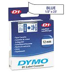 D1 Standard Tape Cartridge for Dymo Label Makers 12in x 23ft Blue on White (DYM45014)