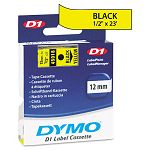 D1 Standard Tape Cartridge for Dymo Label Makers 12in x 23ft Black on Yellow (DYM45018)