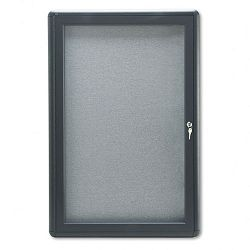 "Enclosed Fabric Covered Cork Bulletin Board 24"" x 36"" Gray Aluminum Frame (QRT2363L)"