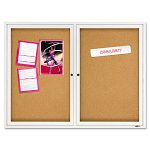 "Enclosed Bulletin Board Natural CorkFiberboard 48"" x 36"" Aluminum Frame (QRT2364)"